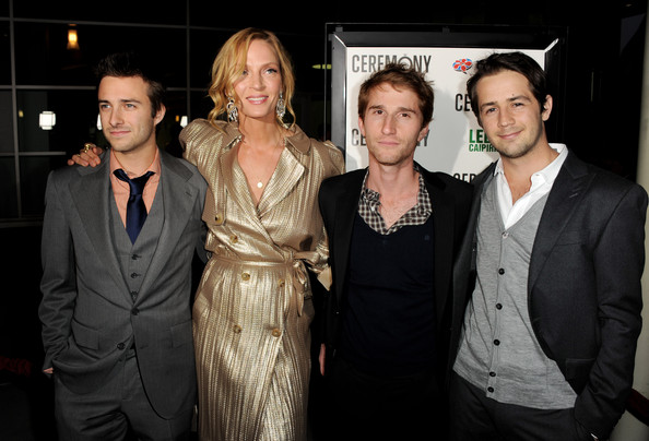 "(L-R) Actors Reece Thompson, Uma Thurman, director Max Winkler and actor Michael Angarano pose at the premiere of Magnolia Picture's ""Ceremony"" at the Arclight Theater on March 22, 2011 in Los Angeles, California."