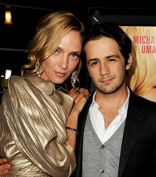 "Actors Uma Thurman (L) and Michael Angarano arrive at the premiere of Magnolia Picture's ""Ceremony"" at the Arclight Theater on March 22, 2011 in Los Angeles, California."