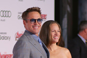 """Actor Robert Downey Jr. and producer/wife Susan Downey attends the premiere of Marvel's """"Avengers: Age Of Ultron"""" at Dolby Theatre on April 13, 2015 in Hollywood, California."""