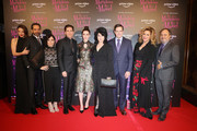 (L-R)  Marin Hinkle, Tony Shalhoub, Alex Borstein, Michael Zegen, Rachel Brosnahan,  Amy Sherman-Palladino,  Daniel Palladino, Caroline Aaron and Kevin Pollak attend Premiere The Marvelous Mrs. Maisel S2 - Milan event at Cinema Odeon on December 3, 2018 in Milan, Italy