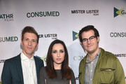"Director Daryl Wein, actress Zoe Lister-Jones and Head of Acquisitions and Business Affairs for Gathr Films, Jake Craven attend the Los Angeles premiere of Mister Lister Films' ""Consumed""  at Laemmle Music Hall on November 11, 2015 in Beverly Hills, California."