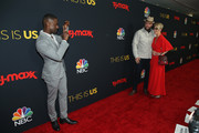 """Sterling K. Brown takes a photo of Chris Sullivan and Rachel Reichard during the Season 3 Premiere of NBC's """"This Is Us"""" at Paramount Studios on September 25, 2018 in Hollywood, California."""