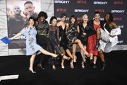 "(L-R) Rebekka Johnson, Kia Stevens, Brit Baron, Jackie Tohn, Kimmy Gatewood and Britney Young  attend the Premiere Of Netflix's ""Bright"" at Regency Village Theatre on December 13, 2017 in Westwood, California."