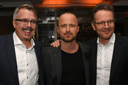 """(L-R) Vince Gilligan, Aaron Paul and Bryan Cranston attend the Premiere of Netflix's """"El Camino: A Breaking Bad Movie"""" After Party at Baltaire on October 07, 2019 in Los Angeles, California."""