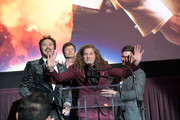 """(L-R) Kyle Newacheck, Anders Holm,  Blake Anderson and Adam DeVine attend the premiere of the Netflix film """"Game Over, Man!"""" at the Regency Village Westwood in Los Angeles at Regency Village Theatre on March 21, 2018 in Westwood, California."""