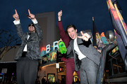 """(L-R)  Kyle Newacheck, Blake Anderson and Adam DeVine attend the premiere of the Netflix film """"Game Over, Man!"""" at the Regency Village Westwood in Los Angeles at Regency Village Theatre on March 21, 2018 in Westwood, California."""