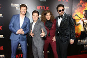 """(L-R) Anders Holm, Adam DeVine, Blake Anderson and Kyle Newacheck attend the premiere of the Netflix film """"Game Over, Man!"""" at the Regency Village Westwood in Los Angeles at Regency Village Theatre on March 21, 2018 in Westwood, California."""