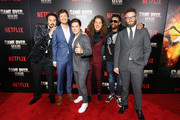 """(L-R) Kyle Newacheck, Anders Holm, Adam DeVine, Blake Anderson, Shaggy and Seth Rogen attend the premiere of the Netflix film """"Game Over, Man!"""" at the Regency Village Westwood in Los Angeles at Regency Village Theatre on March 21, 2018 in Westwood, California."""