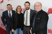 """(L-R)  Netflix Chief Content Officer Ted Sarandos, Vice president of Netflix's Original Content Cindy Holland, actor Charlie Cox and executive producer Jeph  Loeb attend the Premiere of Netflix's """"Marvel's Daredevil"""" at Regal Cinemas L.A. Live on April 2, 2015 in Los Angeles, California."""