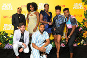 "DeRon Horton, John Patrick Amedori ,Antoinette Robertson, Brandon P. Bell, Ashley Blaine Featherson, Logan Browning  and Marque Richardson attend the premier of the Netflix Original Series ""Dear White People"" Volume 3 at Regal LA Live on August 01, 2019 in Los Angeles, California."