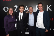 """(L-R) Cindy Holland, Jason Bateman, Ted Sarandos and Chris Mundy arrive at the premiere of Netflix's """"Ozark"""" Season 2 at the Arclight Theatre on August 23, 2018 in Los Angeles, California."""