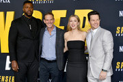 """(L-R) Winston Duke, Iliza Shlesinger, Peter Berg, and Mark Wahlberg attend the Premiere of Netflix's """"Spenser Confidential"""" at Regency Village Theatre on February 27, 2020 in Westwood, California."""