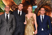"""(L-R) Actors Stanley Tucci, Nicholas Hoult, Eleanor Tomlinson, and director Bryan Singe attend the premiere of New Line Cinema's """"Jack The Giant Slayer"""" at TCL Chinese Theatre on February 26, 2013 in Hollywood, California."""