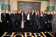 "(L-R) Actors Jed Brophy, William Kircher, composer Howard Shore, actors Dean O'Gorman, Stephen Hunter, Lee Pace, Evangeline Lilly, Andy Serkis, Kevin Tsujihara, Chairman & CEO of Warner Bros., writer/director/producer Peter Jackson, actor Richard Armitage, Gary Barber, Chairman and CEO of MGM, actors Graham McTavish, Elijah Wood and Orlando Bloom, writer/co-producer Philippa Boyens, actor Manu Bennett, Executive Vice President of New Line Cinema Carolyn Blackwood and Toby Emmerich, President and COO, New Line Cinema attend the premiere of New Line Cinema, MGM Pictures and Warner Bros. Pictures' ""The Hobbit: The Battle of the Five Armies"" at Dolby Theatre on December 9, 2014 in Hollywood, California."