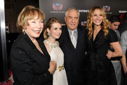 """(L-R) Actresses Shirley MacLaine, Emma Roberts, director Garry Marshall, and actress Julia Roberts arrive at the premiere of New Line Cinema's """"Valentine's Day"""" held at Grauman's Chinese Theatre on February 8, 2010 in Los Angeles, California."""