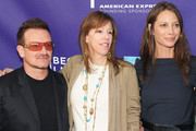 """(L-R)  Musician Bono,  Tribeca Film Festival co-founder Jane Rosenthal  and model Christy Turlington Burns attend the premiere of """"No Woman No Cry"""" during the 2010 Tribeca Film Festival  at Village East Cinema on April 24, 2010 in New York City."""