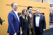 "(L-R) (L-R) CEO of Hulu Randy Freer, President, Paramount Television, Nicole Clemens, Christopher Abbott and Chief Executive Officer of Paramount Pictures Jim Gianopulos attend the premiere of Hulu's ""Catch-22"" on May 07, 2019 in Hollywood, California."