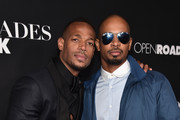 "Actors Marlon Wayans and Damon Wayans Jr. attend the premiere of Open Road Films' ""Fifty Shades of Black""  at Regal Cinemas L.A. Live on January 26, 2016 in Los Angeles, California."