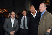 """(L-R) Adam Goodman, President of Paramount Film Group, actor Byung-Hun Lee, Dwayne """"The Rock"""" Johnson and Rob Moore, Vice Chairman of Paramount Pictures attend the premiere of Paramount Pictures' """"G.I. Joe: Retaliation"""" at TCL Chinese Theatre on March 28, 2013 in Hollywood, California."""