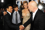 """(L-R) Director Jon M. Chu, actors Byung-Hun Lee, Adrianne Palicki and Bruce Willis attend the premiere of Paramount Pictures' """"G.I. Joe:Retaliation"""" at TCL Chinese Theatre on March 28, 2013 in Hollywood, California."""