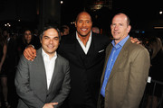 """(L-R) President/ Paramount Film Group Adam Goodman, actor Dwayne Johnson and Vice Chairman of Paramount Pictures Corporation Rob Moore attend the premiere of Paramount Pictures' """"G.I. Joe:Retaliation"""" at TCL Chinese Theatre on March 28, 2013 in Hollywood, California."""