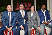 """(L-R) Actors Rob Corddry, Adam Scott, Clark Duke and Craig Robinson attend the premiere of Paramount Pictures' """"Hot Tub Time Machine 2"""" at Regency Village Theatre on February 18, 2015 in Westwood, California."""
