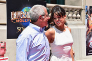 Ron Meyer, Vice Chairman, NBCUniversal and actress Michelle Rodriguez attend the premiere press event for the new Universal Studios Hollywood Ride