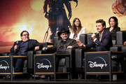 """(L-R) Executive Producer Jon Favreau, Executive Producer/Director Dave Filoni, Composer Ludwig Göransson, Pedro Pascal and Director Deborah Chow speak onstage at the premiere of Lucasfilm's first-ever, live-action series, """"The Mandalorian,"""" at the El Capitan Theatre in Hollywood, Calif. on November 13, 2019. """"The Mandalorian"""" streams exclusively on Disney+."""