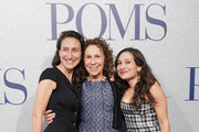 """Rhea Pearlman (C) and daughters attend the premiere of STX's """"Poms"""" at Regal LA Live on May 01, 2019 in Los Angeles, California."""