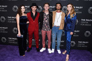 """(L-R) Mary Mouser, Tanner Buchanan, Jacob Bertrand, Xolo Mariduena and Peyton List attend the premiere screening and conversation of YouTube Original's """"Cobra Kai"""" Season 2 at The Paley Center for Media on April 22, 2019 in Beverly Hills, California."""