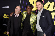 """(L-R) Jordan Cahan, Don Cheadle and David Caspe arrive at the premiere of Showtime's """"Black Monday"""" at The Theatre at Ace Hotel on January 14, 2019 in Los Angeles, California."""