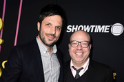 """David Caspe and Jordan Cahan arrive at the premiere of Showtime's """"Black Monday"""" at The Theatre at Ace Hotel on January 14, 2019 in Los Angeles, California."""