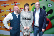 """(L-R) Thurop Van Orman, Rachel Bloom, and John Cohen attend the Premiere of Sony's """"The Angry Birds Movie 2"""" on August 10, 2019 in Los Angeles, California."""