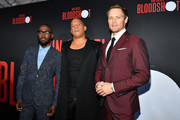 "(L-R) Lamorne Morris, Vin Diesel and Sam Heughan attend the premiere of Sony Pictures' ""Bloodshot"" on March 10, 2020 in Los Angeles, California."