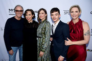 "(L-R) Actors Peter Fonda, Kristen Schaal, Vera Farmiga, Lewis MacDougall and writer/director Shana Feste arrive at the premiere of Sony Pictures Classics' ""Boundaries"" at the American Cinematheque's Egyptian Theatre on June 19, 2018 in Los Angeles, California."