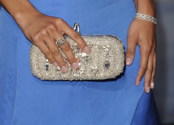 """Actress Toni Trucks (clutch detail) arrives at the premiere of Summit Entertainment's """"The Twilight Saga: Breaking Dawn - Part 2"""" at Nokia Theatre L.A. Live on November 12, 2012 in Los Angeles, California."""