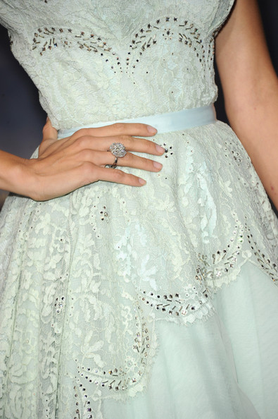 """Actress Angela Sarafyan (ring detail) arrives at the premiere of Summit Entertainment's """"The Twilight Saga: Breaking Dawn - Part 2"""" at Nokia Theatre L.A. Live on November 12, 2012 in Los Angeles, California."""