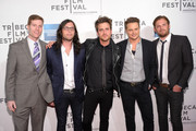 """(L to R)  Casey McGrath, Nathan Followill, Jared Followill, Stephen C. Mitchell, and Caleb Followill attend the premiere of """"Talihina Sky: The Story of Kings of Leon"""" during the 2011 Tribeca Film Festival at BMCC Tribeca PAC on April 21, 2011 in New York City."""
