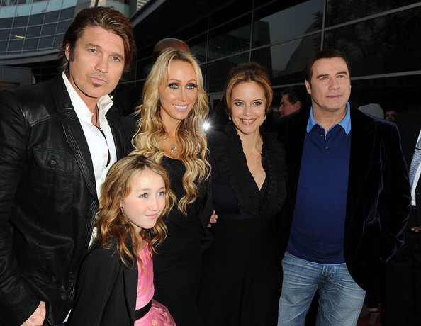 "Billy Ray Cyrus (L-R) Actor Billy Ray Cyrus, Noah Cyrus, executive producer Tish Cyrus, actress Kelly Preston, and actor John Travolta arrive at the premiere of Touchstone Picture's ""The Last Song"" held at ArcLight Hollywood on March 25, 2010 in Los Angeles, California."
