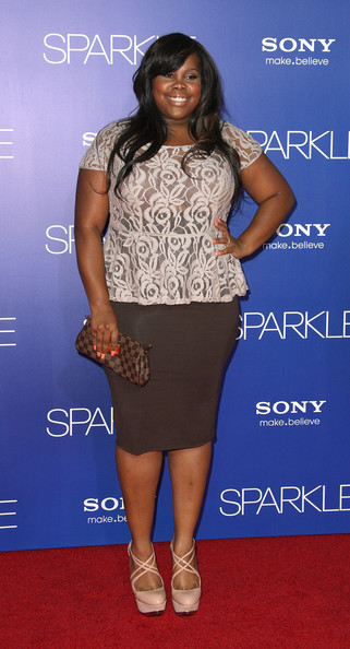 "Recording artist Amber Riley attends the Premiere Of Tri-Star Pictures' ""Sparkle"" at Grauman's Chinese Theatre on August 16, 2012 in Hollywood, California."
