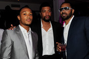"(L-R) Actors Romeo Miller, DeRay Davis and Mike Epps pose at the after party for the premiere of TriStar Pictures' ""Jumping The Broom"" at Boulevard3 on May 4, 2011 in Los Angeles, California."