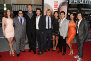 "(L-R) Actors Rose Byrne, Josh Gad, Vince Vaughn, director Shawn Levy, actors, Owen Wilson, Jessica Szohr,Tobit Raphael, Tiya Sircar, and Josh Brener arrive at the premiere of Twentieth Century Fox's ""The Internship"" at Regency Village Theatre on May 29, 2013 in Westwood, California."