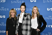 "(L-R) Bonnie Hammer, Jessica Biel, and Dawn Olmstead arrive at the Premiere of USA Network's ""The Sinner"" Season 3 at The London West Hollywood on February 03, 2020 in West Hollywood, California."