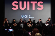 "Actors Sarah Rafferty, Meghan Markle, Rick Hoffman, Gina Torres,  creator/executive producer Aaron and Xfinity's Jim Halterman attend a Q&A following the premiere of USA Network's ""Suits"" Season 5 at Sheraton Los Angeles Downtown Hotel on January 21, 2016 in Los Angeles, California."