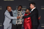 """Actors Bokeem Woodbine, Wavyy Jonez, Marcc Rose and Josh Duhamel attend the premiere of USA Network's """"Unsolved: The Murders of Tupac and The Notorious B.I.G. at Avalon on February 22, 2018 in Hollywood, California."""