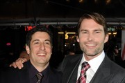 """Actor/producer Jason Biggs (L) and actor Seann William Scott arrive at the premiere of Universal Pictures' """"American Reuinion"""" at Grauman's Chinese Theatre on March 19, 2012 in Hollywood, California."""