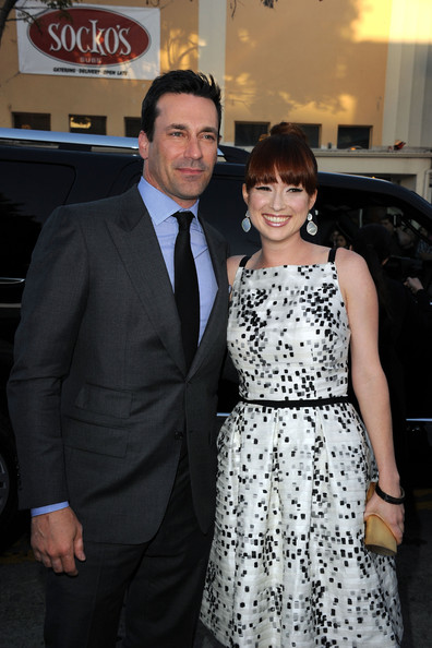 "Actors Jon Hamm and Ellie Kemper arrive at the  Premiere of Universal Pictures' ""Bridesmaids"" at the Mann Village Theatre on April 28, 2011 in Westwood, California."