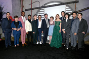 """(L-R) Jay Ryan, Jeremy Ray Taylor, Isaiah Mustafa, Chosen Jacobs, Jaeden Martell, Jack Dylan Grazer, James Ransone, Sophia Lillis, Jessica Chastain, Bill Hader, Finn Wolfhard, Andy Bean, and Wyatt Oleff attend the Premiere of Warner Bros. Pictures' """"It Chapter Two"""" at Regency Village Theatre on August 26, 2019 in Westwood, California."""