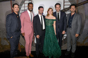 """(L-R) Jay Ryan, Isaiah Mustafa, James Ransone, Jessica Chastain, Bill Hader, and Andy Bean attend the Premiere of Warner Bros. Pictures' """"It Chapter Two"""" at Regency Village Theatre on August 26, 2019 in Westwood, California."""