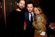 """(L-R) Actors Tobey Maguire, Kevin Connolly and Jennifer Meyer pose at the after party for the premiere of Warner Bros. Pictures' """"Entourage"""" on June 1, 2015 in Los Angeles, California."""
